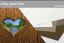 Artoz green line / Green-Line Papiere widerspiegeln Nachhaltigkeit erster Klasse. Diese Papierserie reflektiert die unterschiedlichen Farbtöne in der Natur. Kraftvoll, zart oder verwaschen und diffus.