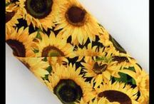 """""""Sunflowers"""" Fabric by Chong-a Hwang / """"Chong-a Hwang's artistic taste developed during her more formative years when she was often caught following her father with a paintbrush in hand trying to imitate his talented abilities."""" (Timeless Treasures)"""