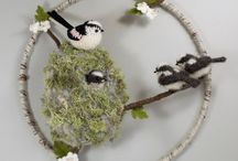 Fibre art bird pictures / Bird art - 3D pictures in wool