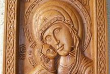 Virgin Mary / Virgin Mary, Mother of God, hand carved wall plaques and icons made by pure beeswax, mastic and incense from Mount Athos