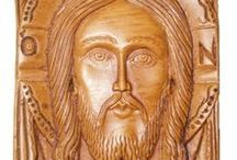 Jesus Christ / Jesus Christ hand carved wall plaques made by pure beeswax, mastic and incense from Mount Athos