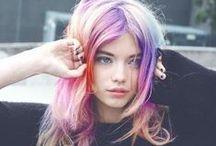 Hair / hair, pink hair, blue hair, art, photo