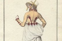 Wedgies of the historical era / Regency Fashion plates and portraits where the ladies are holding up their skirts in the back, looks like a wedgie shot...