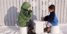 """Snow & Ice Art ♥ Outdoor Ideas for Kids / """"The world changes when it snows"""" by Lorelai from Gilmore Girls"""