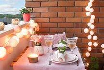 Балкон / Balcony lights decor / Идеи оформления и декора балкона (мебель, свет, текстиль, цветы) - идеального места для летних посиделок с любимыми. Вдохновляйтесь красотой!