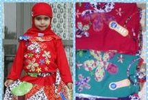 Busana Muslim anak perempuan / Model terusan dengan pernik bordir berbahan cotton dan kaos nyama untuk di paka