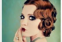 "Vintage looks / From flapper girls to victory rolls. Cool hair and makeup from 1920's to 1950's. Like it? See also my boards ""Beauty makeup"" and ""Hippie + retro stuff""."