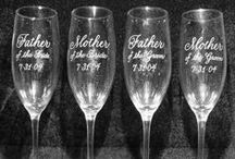 Engraved Toasting Flutes / Personalize your toasting flutes wth beautiful hand engraving!