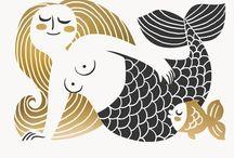 Mid-Century Mermaids / Love me some Bjorn Wiinblad...