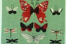 Novelty hankies and towels / Vintage illustration. Novelty prints by Tammis Keefe, Pat Prichard and others