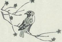 Asian birds and flowers