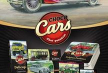 Kolekce CHOCO CARS a RETRO CHOCO CARS / Unikátní automobilová edice Choco Cars s motivy vozů Tatra s krátkými texty o historii vozů a technických údajích. Edice obsahuje plněné belgické pralinky, Delicups pohárky, tabulkové čokolády a čokoládové lanýže.