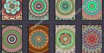 Mandala cards / Ethnic backgrounds. Vintage design elements. Colorful ornamental banners. Templates with oriental elements and tribal mandala. Tribal,ethnic,Indian, Islam, Arabic, ottoman motifs.
