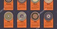 Calendar / Calendars 2017. Vintage decorative elements.