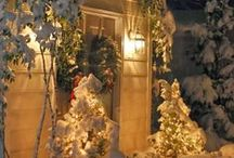 Front Door Christmas Decor!! / Many of the greenery ideas featured in these photos may be replicated by purchasing trees at our Christmas tree farm, Hill Farms, or greenery items from our gift shop, The Primitive Pinecone!