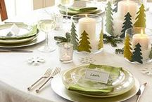 Holiday tablescapes ideas! / Hill Farms & The Primitive Pinecone sells many items which may be used to add sparkle, fragrance, glamour, glitz and drama to your kitchen, dining and/or multi-purpose tables throughout your home!  These are some of our favorite ideas found on Pinterest!