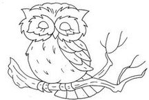 CP - Owls / Really Line Drawings of All Kinds - Can be colored - Used in embroidery - felt or other craft projects - or just ideas to practice drawing   -  The first picture that I can clearly remember coloring for my mother was an Owl