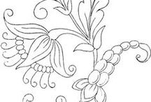 CP - Florals - Folk/Jacobean Style / Really Line Drawings of All Kinds - Can be colored - Used in embroidery - felt or other craft projects - or just ideas to practice drawing