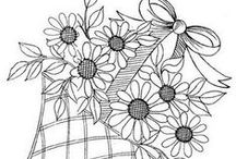 CP - Flowers in Basket  + / + in Vases, Jars, Pitchers and Such  -  Really Line Drawings of All Kinds - Can be colored - Used in embroidery - felt or other craft projects - or just ideas to practice drawing