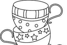CP - Coffee - Tea + Sweet Treats / Really Line Drawings of All Kinds - Can be colored - Used in embroidery - felt or other craft projects - or just ideas to practice drawing