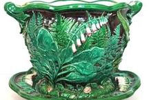 Flowers and  Ferns: Botanical Majolica / Because of the global popularity of Natural History and Botany, British, European and American potters produced copious numbers of floral and other botanically themed objects. The applications ranged from plate decoration to monumental Exhibition pieces, and were made by every manufacturer in the Western hemisphere. This board will show a broad range of these wares.