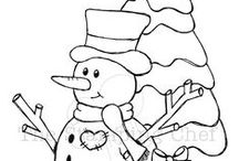 CP - Snowmen / Really Line Drawings of All Kinds - Can be colored - Used in embroidery - felt or other craft projects - or just ideas to practice drawing