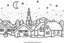 CP - House/Village / Really Line Drawings of All Kinds - Can be colored - Used in embroidery - felt or other craft projects - or just ideas to practice drawing