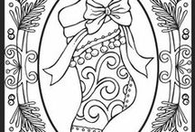 CP - Xmas Stockings / Really Line Drawings of All Kinds - Can be colored - Used in embroidery - felt or other craft projects - or just ideas to practice drawing