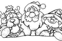 CP - Santa - Mrs. C - Elves + Reindeer / Really Line Drawings of All Kinds - Can be colored - Used in embroidery - felt or other craft projects - or just ideas to practice drawing