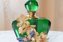 Perfume Bottles - Blue + Green