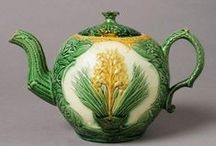 Figural English Tea Pots/A Brief Visual History / There is a special character exemplified in English tea pots, and this sensibility first appears early in British ceramic history. There is an interesting combination of Staffordshire and Asian influence. Many of these examples predate Majolica, but the personality clearly blooms in the works of the Victorian period.