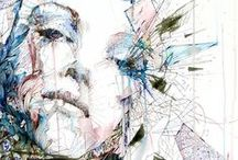 Carne Griffiths / Ink, Tea and Alcohol Portraits