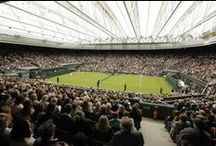 Wimbledon's Centre Court / Tenara 4T40HF Fabric.  When play begins at the prestigious Wimbledon Championships every June, the famed Centre Court is always protected by a retractable roof featuring SEFAR® Architecture's TENARA® ePTFE fabric.  View the roof in action at: http://tenarafabric.com/wimbledonvideo/WimbledonVideo.html