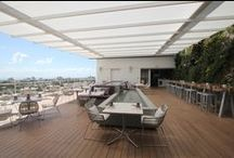 Juvia Restuarant, Miami / SEFAR® Architecture's TENARA® Fabric brings high design and environmental resistance to an outdoor penthouse-level dining area at the brand new Juvia restaurant and lounge in Miami Beach, FL.Video: © Uni-Systems, LLC