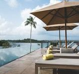 Infinity Pools & Palm Trees / Stretching out into the lake, the infinity pool at Tri Lanka