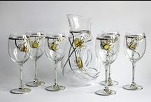 Decorated glasses and decanters - kieliszki i karafki ozdobne /  Hand-decorated glasses and decanters