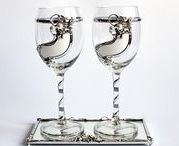 Decorative wine glasses for two. / Collections of wine glasses for two decorated with natural stones (agate, coral, etc.) and tin English.