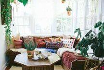 Boho Home / Boho vibes meet gorgeous home and apartment inspo. We're currently loving succulent planters, cactus, macramé, shibori pillows, and colorful textiles.