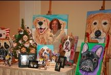 Custom Pet Portraits on Canvas / Sherry Kendall, founding artist of Wagging Tail Portraits,  has been delighting clients with custom paintings for the last 15 years. Sherry paints on a deep gallery edged canvas and wraps the image around the edges, so no framing is necessary. Pictured here some of her favorite creations.