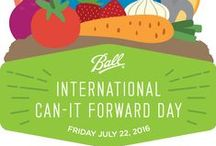 2016 International Can-It-Forward Day / We invite you to join us on Friday July 22, 2016  on the Ball Canning & Recipes Facebook page where experts from the Ball® brand and our Ball® Fresh Preserver ambassadors will be sharing their favorite canning recipes in real time with Facebook Live! All canning questions will also be answered throughout the day on the @BallCanning Twitter handle, using the hashtag #canitforward. Learn more: http://www.freshlypreservedideas.com/can-it-forward-day-pledge.