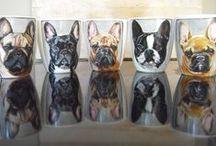 Bulldog Mugs / Hand painted customized porcelain Bulldog, French Bulldog