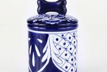 Ceramic Dog Treat Cookie Jars / Beautifully hand-crafted ceramic dog treat cookie jars made especially for your pet.