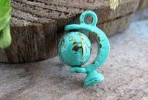 faux patina hand painted charm/pendant  / JEWELLERY SUPPLIES