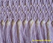 macrame lace / Lace made with macramé - ending a cloth, wall hanging or window dressing