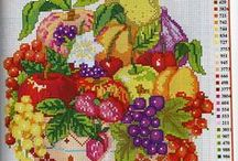 needlework fruit and vegetable / Fruits and vegetables made with embroidery stitches