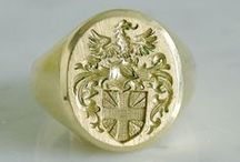 Pro Heraldica USA - Signet Rings / Examples of hand engraved signet rings from Pro Heraldica USA.