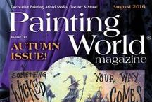 August 2016 Issue of Painting World Magazine / The August issue is packed full of Halloween, Fall and Thanksgiving projects that teach you step by step how to paint each project with detailed instructions by some of the best decorative painting teachers in the world!