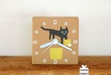My Handmade clock / It is a clock made of handmade corrugated cardboard. The board side performs silk printing.