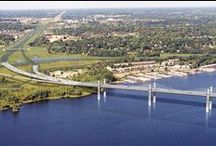 St. Croix Crossing Bridge / New St. Croix Crossing Bridge from Stillwater, MN to St. Joseph, WI. Project will be completed in 2016. Zan Associates was involved in construction of the River Pier Foundations portion of the project from 2013 to early 2014 and the Minnesota Approach Road Construction from 2013-2015