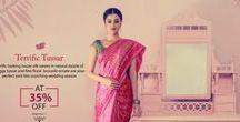 Banarasi Tussar Silk Saree / #Shatika curates the thick lustrous #Banarasitussarsaree laden with rich weaving. The #Banarasitussarsaree replete with gorgeous pallu and border is set to dazzle you.